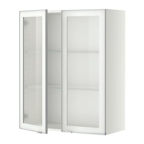 МЕТОД Навесной шкаф с полками/2 стекл дв - 80x100 см, Ютис матовое стекло/алюминий, белый