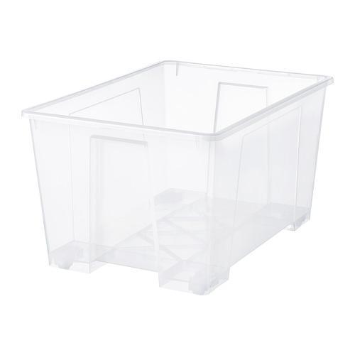 САМЛА Контейнер - прозрачный, 79x57x42 см/130 л