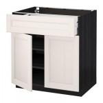 МЕТОД / МАКСИМЕРА Напольный шкаф+ящик/2дверцы - 80x60 см, Лаксарби белый, под дерево черный
