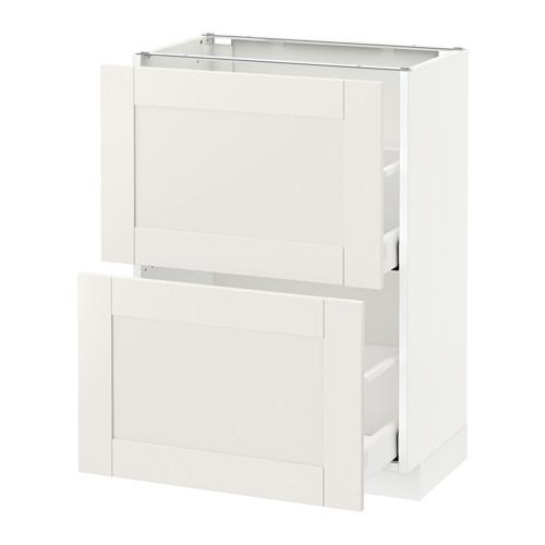 МЕТОД / МАКСИМЕРА Напольный шкаф с 2 ящиками - 60x37 см, Сэведаль белый, белый