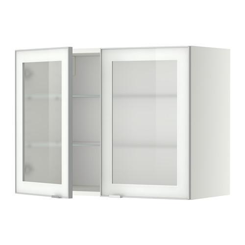 МЕТОД Навесной шкаф с полками/2 стекл дв - 80x60 см, Ютис матовое стекло/алюминий, белый