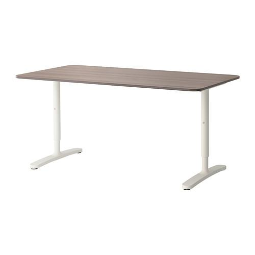 БЕКАНТ Письменный стол - серый/белый
