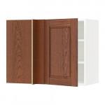 МЕТОД Угловой навесной шкаф с полками - белый, Филипстад коричневый, 88x37x60 см