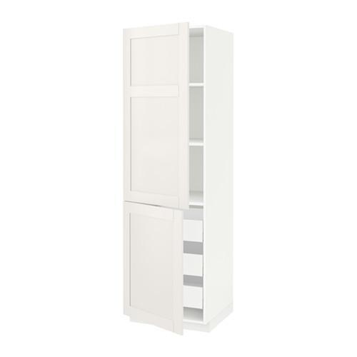 МЕТОД / МАКСИМЕРА Высокий шкаф+полки/3 ящика/2 дверцы - белый, Сэведаль белый, 60x60x200 см
