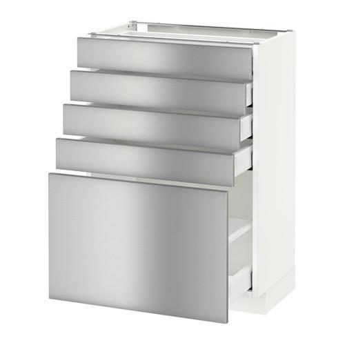 МЕТОД / МАКСИМЕРА Напольный шкаф с 5 ящиками - 60x37 см, Гревста нержавеющ сталь, белый