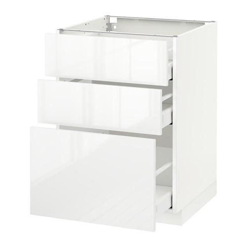 МЕТОД / МАКСИМЕРА Напольный шкаф с 3 ящиками - 60x60 см, Рингульт глянцевый белый, белый