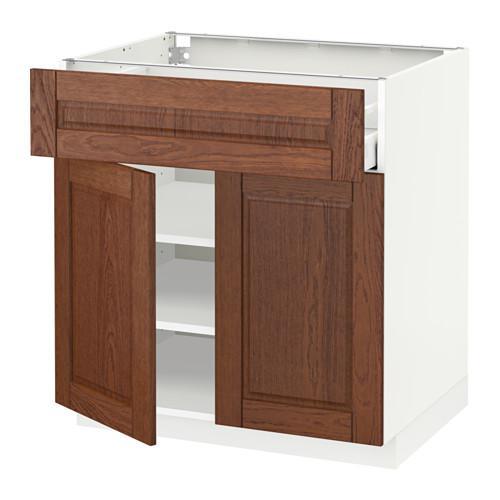 МЕТОД / МАКСИМЕРА Напольный шкаф+ящик/2дверцы - 80x60 см, Филипстад коричневый, белый