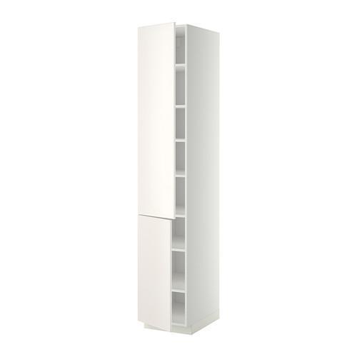 МЕТОД Высокий шкаф с полками/2 дверцы - 40x60x220 см, Веддинге белый, белый