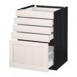 МЕТОД / МАКСИМЕРА Напольный шкаф с 5 ящиками - 60x60 см, Лаксарби белый, под дерево черный