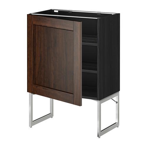 МЕТОД Напольный шкаф с полками - 60x37x60 см, Эдсерум под дерево коричневый, под дерево черный