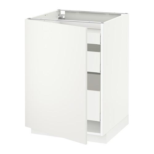 МЕТОД / МАКСИМЕРА Напольный шкаф с 1двр/3ящ - 60x60 см, Хэггеби белый, белый