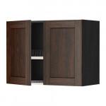 МЕТОД Навесной шкаф с посуд суш/2 дврц - 80x60 см, Эдсерум под дерево коричневый, под дерево черный