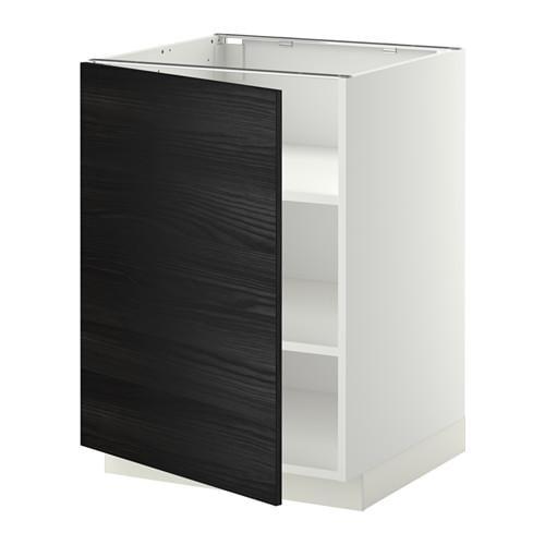 МЕТОД Напольный шкаф с полками - белый, Тингсрид под дерево черный, 60x60 см