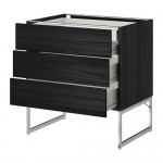 METHOD / FORVARA Base cabinet 3front PNL / 2niz / 2sr drawers - 80x60x60 cm Tingsrid wood black, wood black