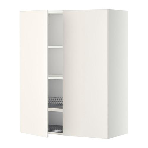 МЕТОД Навесной шкаф с посуд суш/2 дврц - 80x100 см, Веддинге белый, белый