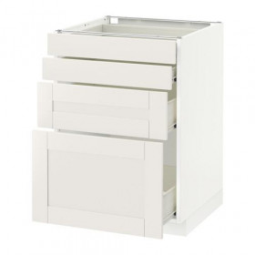 METHOD / FORVARA Base cabinet front panel 4 / 4 drawer - white, white Sevedal, 60x60 cm