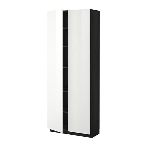 МЕТОД Высок шкаф с полками - 80x37x200 см, Рингульт глянцевый белый, под дерево черный