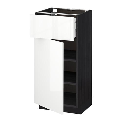 МЕТОД / МАКСИМЕРА Напольный шкаф с ящиком/дверью - 40x37 см, Рингульт глянцевый белый, под дерево черный
