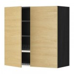 МЕТОД Навесной шкаф с посуд суш/2 дврц - 80x80 см, Тингсрид под березу, под дерево черный