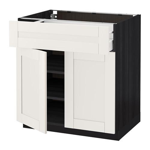 МЕТОД / МАКСИМЕРА Напольный шкаф+ящик/2дверцы - 80x60 см, Сэведаль белый, под дерево черный