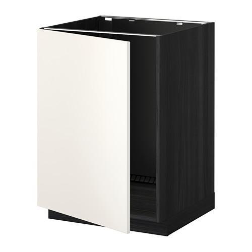 МЕТОД Напольный шкаф для раковины - Веддинге белый, под дерево черный