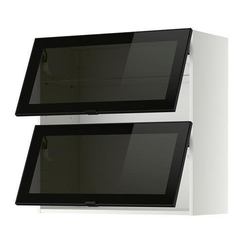 МЕТОД Навесн горизонтал шкаф/2 зерк дверц - 80x80 см, белый, Ютис дымчатое стекло/черный