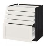 МЕТОД / МАКСИМЕРА Напольный шкаф с 5 ящиками - 80x60 см, Сэведаль белый, под дерево черный