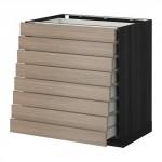 MÉTODO / MAKSIMERA Un relleno frente del gabinete 8 / 8 baja caja - 80x60 cm Brokhult nogal gris efecto de luz, madera negro