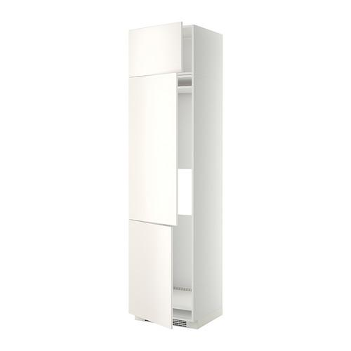 МЕТОД Выс шкаф для хол/мороз с 3 дверями - 60x60x240 см, Веддинге белый, белый