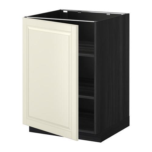 МЕТОД Напольный шкаф с полками - 60x60 см, Будбин белый с оттенком, под дерево черный