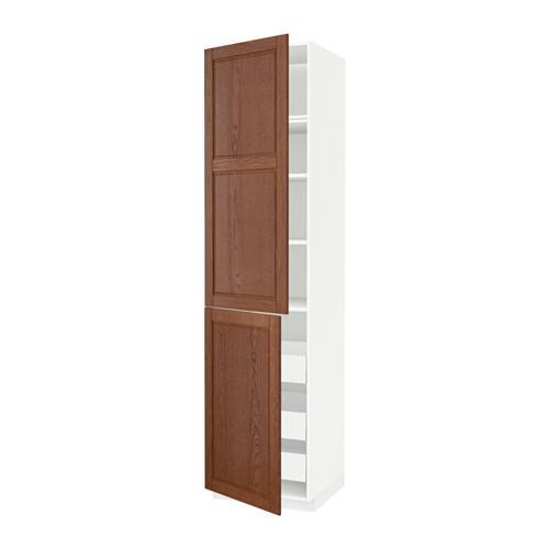 МЕТОД / МАКСИМЕРА Высокий шкаф+полки/3 ящика/2 дверцы - 60x60x240 см, Филипстад коричневый, белый