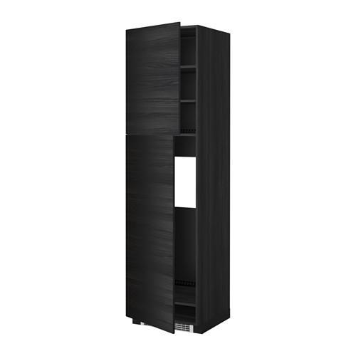 МЕТОД Высокий шкаф д/холодильника/2дверцы - 60x60x220 см, Тингсрид под дерево черный, под дерево черный