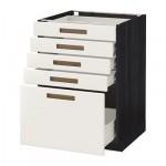 MÉTODO gabinete / FORVARA Base con cajones 5 - 60x60 cm Mersta blanco, madera negro