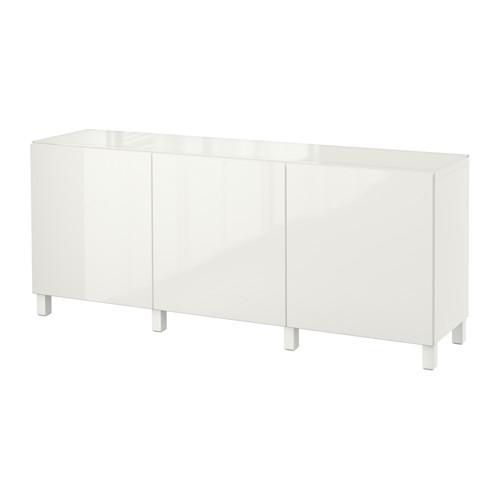 БЕСТО Комбинация для хранения с дверцами - белый/Сельсвикен глянцевый/белый