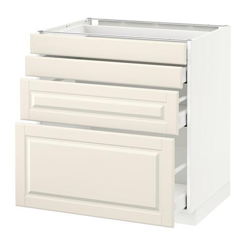 МЕТОД / МАКСИМЕРА Напольн шкаф 4 фронт панели/4 ящика - белый, Будбин белый с оттенком, 80x60 см