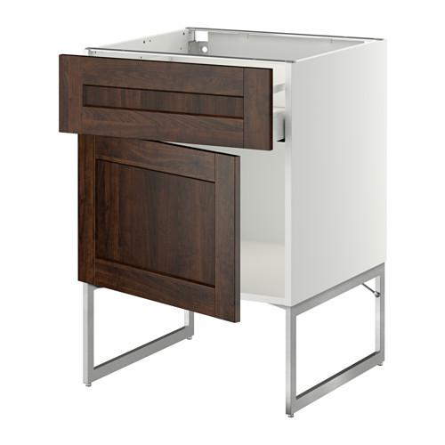 МЕТОД / МАКСИМЕРА Напольный шкаф с ящиком/дверью - 60x60x60 см, Эдсерум под дерево коричневый, белый