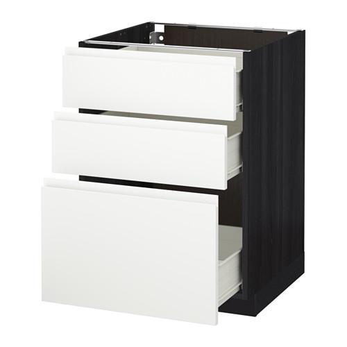 MÉTODO / mueble con cajones FORVARA Base 3 - madera de color negro, blanco Vokstorp, 60x60 cm