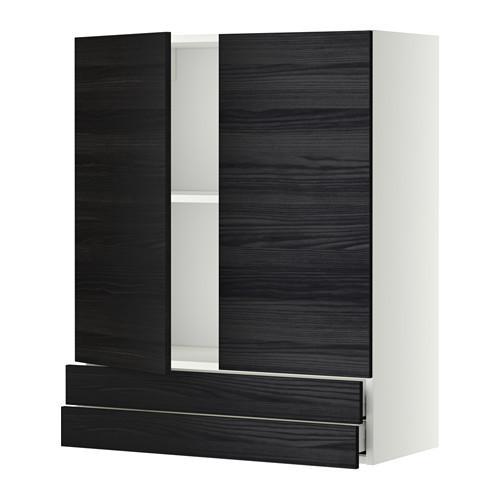 МЕТОД / МАКСИМЕРА Навесной шкаф/2дверцы/2ящика - 80x100 см, Тингсрид под дерево черный, белый