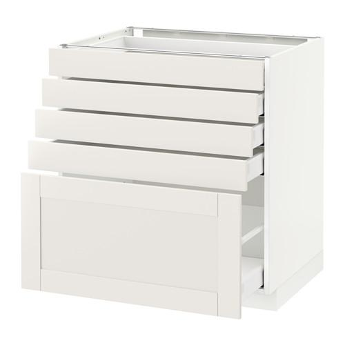 МЕТОД / МАКСИМЕРА Напольный шкаф с 5 ящиками - 80x60 см, Сэведаль белый, белый