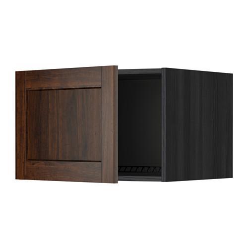 МЕТОД Верх шкаф на холодильн/морозильн - 60x40 см, Эдсерум под дерево коричневый, под дерево черный