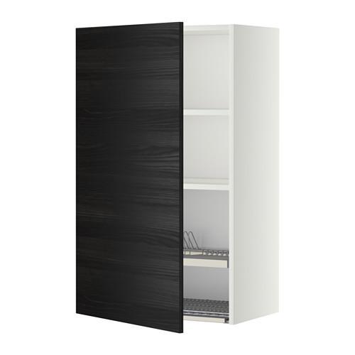 МЕТОД Шкаф навесной с сушкой - 60x100 см, Тингсрид под дерево черный, белый