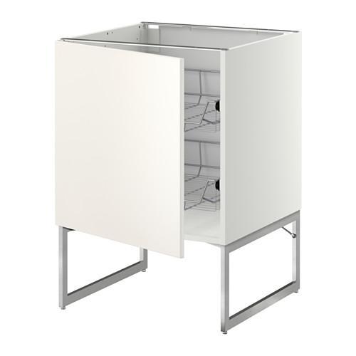 МЕТОД Напольный шкаф с проволочн ящиками - 60x60x60 см, Веддинге белый, белый