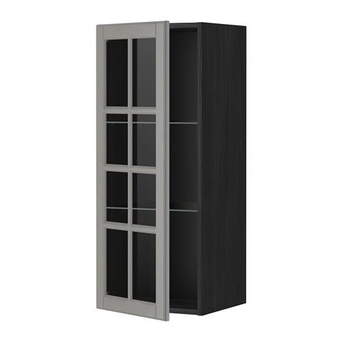 МЕТОД Навесной шкаф с полками/стекл дв - 40x100 см, Будбин серый, под дерево черный