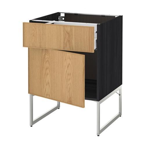 МЕТОД / МАКСИМЕРА Напольный шкаф с ящиком/дверью - 60x60x60 см, Экестад дуб, под дерево черный