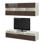 БЕСТО Комбинация для хранения/под ТВ - белый рисунок бамбука/глянцевый/коричневый