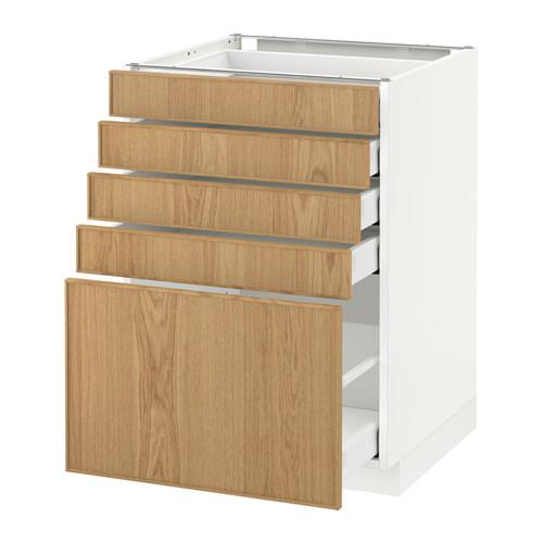 МЕТОД / МАКСИМЕРА Напольный шкаф с 5 ящиками - 60x60 см, Экестад дуб, белый