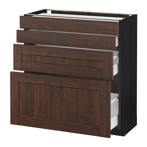 МЕТОД / МАКСИМЕРА Напольн шкаф 4 фронт панели/4 ящика - 80x37 см, Эдсерум под дерево коричневый, под дерево черный