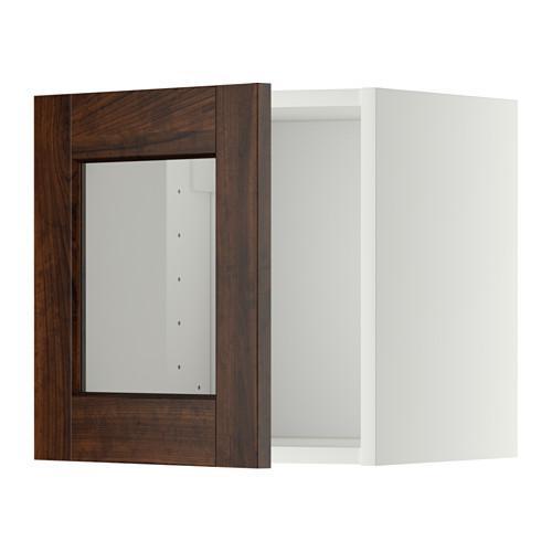 МЕТОД Навесной шкаф со стеклянной дверью - белый, Эдсерум под дерево коричневый