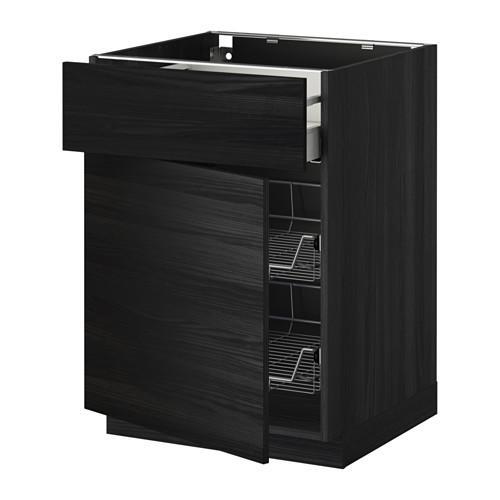 МЕТОД / МАКСИМЕРА Напольн шкаф с пров корз/ящ/дверью - 60x60 см, Тингсрид под дерево черный, под дерево черный