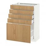 МЕТОД / МАКСИМЕРА Напольный шкаф с 5 ящиками - 60x37 см, Экестад дуб, белый